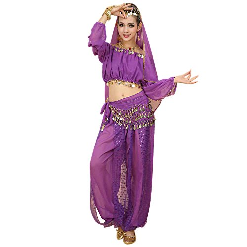 Lazzboy Kostüme Womens New Bauchtanz Set Indian Dance Dress Kleidung Top Hosen(M,Violett)