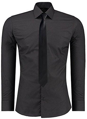 J'S FASHION Herren-Hemd – Slim Fit – Bügelleicht – Business Freizeit Hochzeit Schwarz - S - Krawatte
