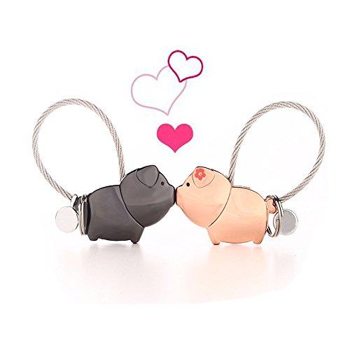 Coppia portachiavi, 1 paio lega di zinco baciare carino animale coppia chiave anelli chiave gancio per ragazza fidanzata regalo di san valentino (pig)