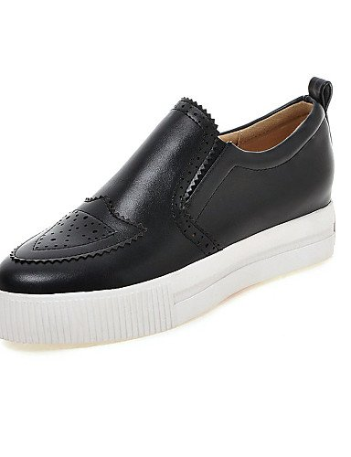 ZQ gyht Scarpe Donna-Mocassini-Casual-Plateau / Punta arrotondata-Plateau-Finta pelle-Nero / Bianco / Beige , white-us9 / eu40 / uk7 / cn41 , white-us9 / eu40 / uk7 / cn41 black-us4-4.5 / eu34 / uk2-2.5 / cn33