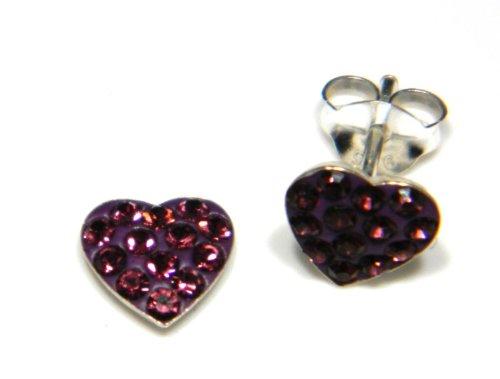 Arranview Jewellery Kinder-7mm Österreichischer Kristall Herz in lila -