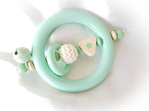 Premium Baby Greifling / Rassel - OHNE NAMEN - Geschenk zur Taufe, Geburt, Babyparty (Mint, Natur, Stern, Ring)
