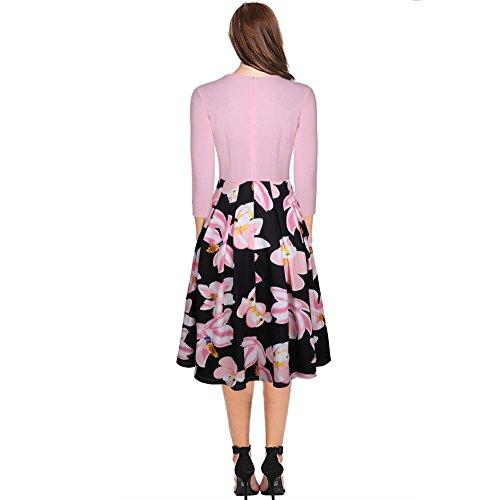 NALATI Damen Sommerkleid Midi Dress 3/4 Arm Rockabilly Kleid Blumendruckt 50s Vintage Swing Partykleider Abendkleider Rosa