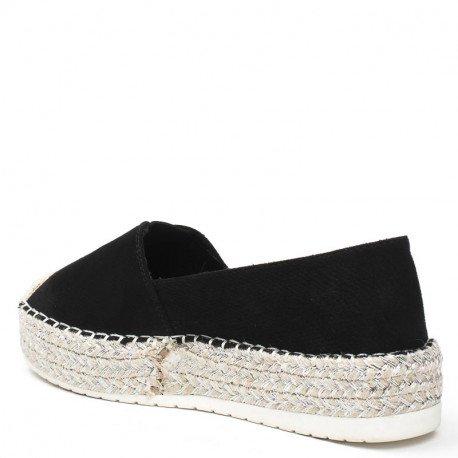 Ideal Shoes - Espadrilles effet reptile Helea Noir