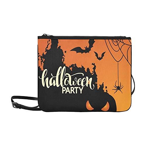 WYYWCY Halloween Party Poster Schriftzug Halloween 31 Benutzerdefinierte hochwertige Nylon Slim Clutch Crossbody (Benutzerdefinierte Mädchen Hexe Kostüme)