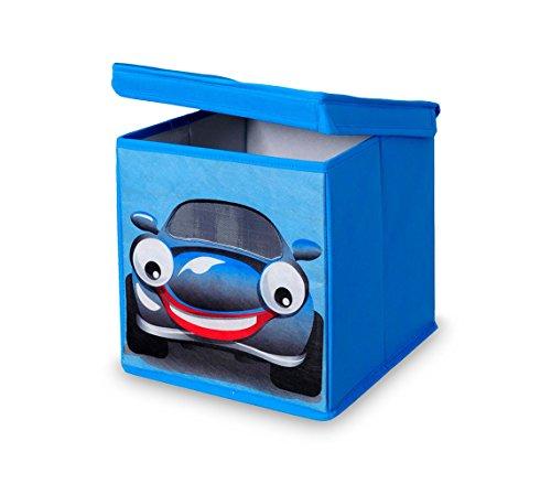 783102 Caja guarda juguetes cuadrada con tapa 27 x 28 cm BÚHO - COCHE - Coche