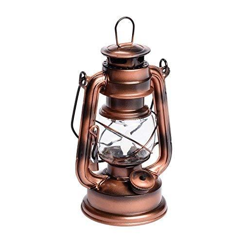 Kupferbraune LED-Laterne Old Style h 19 cm, bernsteinfarbenes Licht, Flackerlicht, bewegliche Flamme, batteriebetrieben