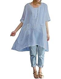 friendGG Frau Große Größe Unregelmäßige Mode Lose Leinen Kurzarm Shirt  Retro Shirt Top,Damen Elegant Bluse Chiffon Bluse Rundhals… 189ae1a36d
