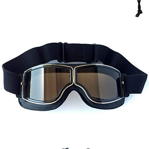 Vintage Goggles Sport Sonnenbrille Helm Steampunk Eyewear Für Outdoor Motocross Racer Motorrad Aviator Pilot Style Cruiser Scooter Brille Retro Brown Frame Gelbe Linse