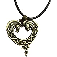 Baiye Celtic Necklace Heart Shaped Double Horse Pendant Art Horse Heart Shaped Equestrian Leather Cord Vintage Color