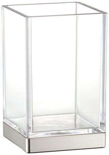 Chrom-glas-zahnbürstenhalter (InterDesign Clarity Trinkbecher, Badezimmer Becher zur Aufbewahrung aus Kunststoff, durchsichtig/mattsilberfarben)