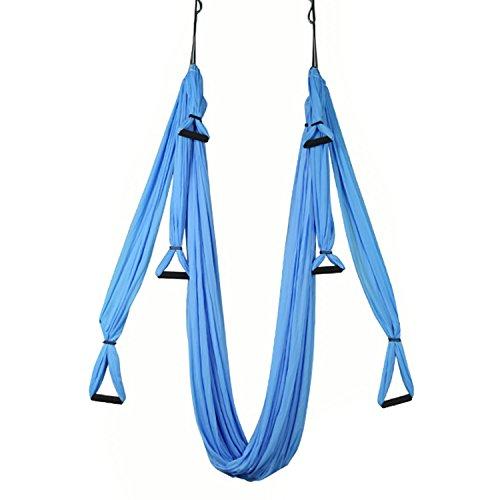Yoga Hängematte Luftschaukel Ultra Starke Anti-Schwerkraft Air Flying Yoga Inversion Swing Trapeze Sling Gürtel Elastic Fitness Swing Hängematte mit Karabiner & Griff (blau) (Aufblasbare Hula)