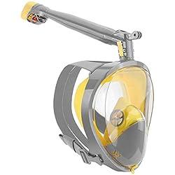 SJYYJJ Masque de plongée en Masque à 360 ° avec Masque de plongée en Plein Visage Rotatif - Ensemble de plongée - Équipement de plongée en apnée pour Enfants Adulte,Gray,L/XL