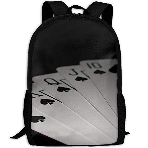 Playing Poker Spades Flush Unisex Adult Unique Rucksack,School Leisure Sports Book Bags,Durable Oxford Outdoor College Laptop Computer Shoulder Bags,Lightweight Travel Tagesrucksäcke -