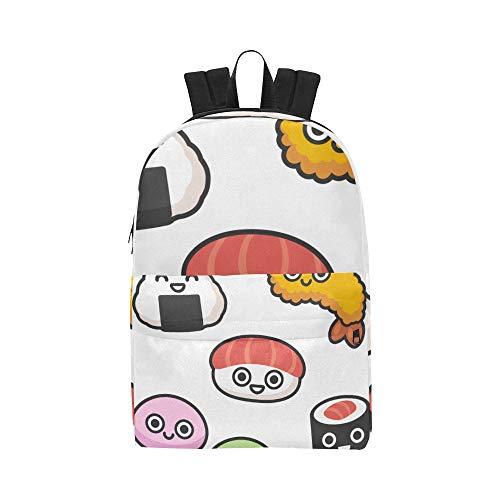 Japanese Food Cuisine Reis Sushi Classic Cute Wasserdichte Laptop-Daypack-Taschen School College Campus Rucksäcke Rucksäcke Bookbag für Kinder, Frauen Männer Reisen mit Reißverschluss Innentasche
