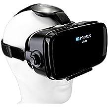 Gafas VR VR-PRIMUS VA4s | Para smartphone 's p.ej. iPhone,Samsung Galaxy,HTC,Sony,LG,Huawei | Ajustable,Google Cardboard QR,Botón de control,Lentes grandes | VR box,headset,glasses,móvil | negro