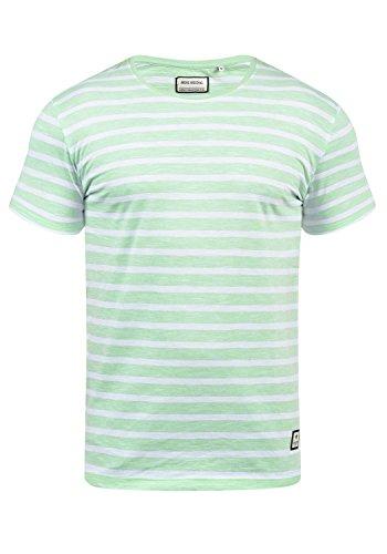 SHINE Original Stefan Herren T-Shirt Kurzarm Shirt Mit Streifen Und Rundhalsausschnitt 100% Baumwolle, Größe:L, Farbe:Light Green