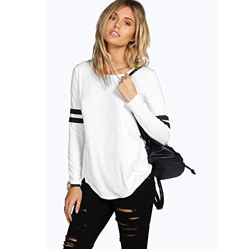 BZLine - Femme Casual T-shirt Col Rond en Coton Mélangé - Manche Longue aux Rayures Blanc