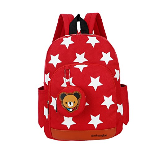 Flyingsky ,  Kinderrucksack rot rot (Bag Purse Bow)