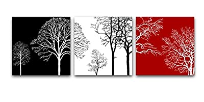 Wieco Art - Colorful Tree Modern 3 Panels Modern Giclee Canvas Prints Contemporary Artwork Flower Pictures Photo Painting on Canvas Wall Art for Home Office Decorations Wall Decor P3RAB005_f1 produced by Wieco Art - quick delivery from UK.