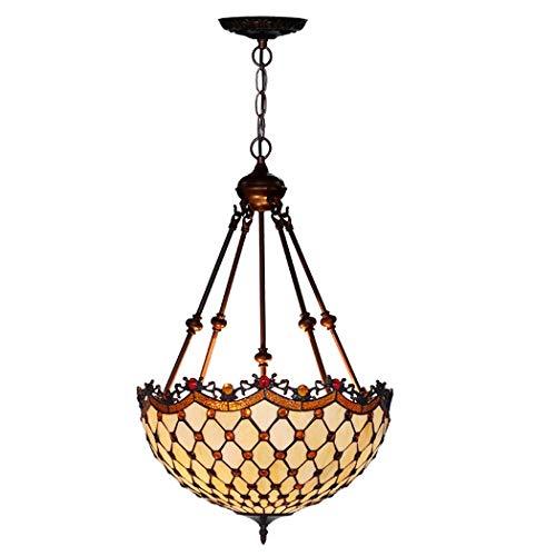 Tiffany-Art-Deckenleuchte, 18 Zoll-Buntglas-Farbton-Leuchter, 4 Arme, 3 Lichter Invertierte Decken-hängende Hängende Lampen-Befestigung Für Esszimmer-Wohnzimmer-Schlafzimmer (Color : 110V-B) -