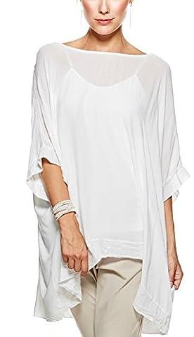 Sevello Clothing Ladies Womens Italian Lagenlook Sequin Trim Baggy Top short Sleeve Sequin Hem Kaftan Tunic Top Blouse One Size Plus UK 12-20 UK (White)