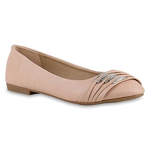 Klassische Damen Strass Ballerinas Elegante Slipper| Übergrößen Metallic Glitzer Flats Schuhe 141942 Apricot 43 | Flandell®