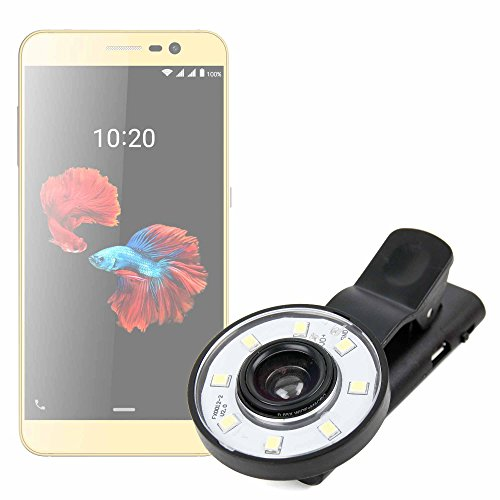 duragadget kit mini clip selfie con luce led e filtri per cellulari zte blade a910 / nubia n1 | onix s405 | oppo a79 | doogee bl7000 | huawei honor view 10 + cavo microusb a usb