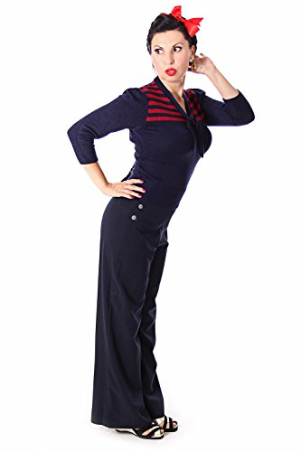 SugarShock Darcey 30er retro Vintage Rockabilly Streifen 3/4 Arm Pullover Jumper Strick Shirt -