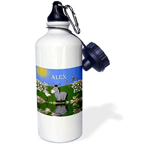 qidushop Deko-Esel Vogel Kunst Design Kinder Personalisiert Der Name Alex White Office Work Yoga Bike Camping Sport Wasserflasche Geschenk 535 ml