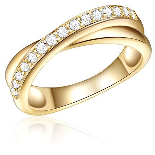 -Ring Sterling Silber 925 gelbgold mit Zirkonia-Steinen weiß - Wickelring Geschenk für die Frau ()