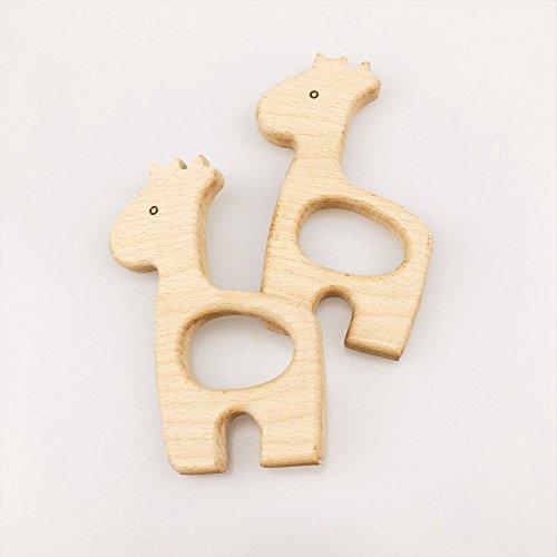 Preisvergleich Produktbild baby tete 5Pcs Hölzerne Zähne Giraffe Natur Baby Zahnen Spielzeug Bio Öko-freundliche Holz Zahnen Halter Krankenpflege Baby Teether