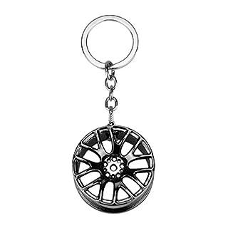 WINOMO Auto Schlüsselringe Kreative Rad Felge Mode Schlüsselanhänger Autozubehör Schlüsselbund Ring Schlüssel Schloss Geschenk(Dunkelgrau)