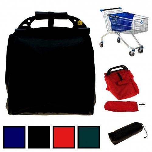 Einkaufswagentasche - Einkaufstasche - Falttasche - Shopper - 50 x 29 x 30 cm in 4 verschiedenen Farben inkl. Schutztasche und Einkaufschip (Petrol)