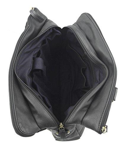 Zerimar Borsa Valigetta realizzata in pelle bovina di alta qualità SALDI- ORA O MAI Più compartimenti Misure: 28X38X9 cms Nero