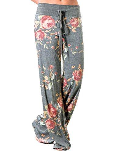 Famulily Women's Casual Floral Print Drawstring Wide Leg Pajama Lounge Pants