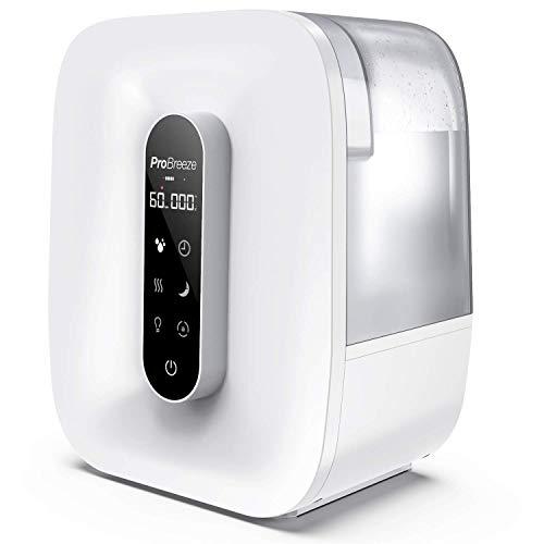Pro breeze® umidificatore ad ultrasuoni 5,6 litri. con nebbia calda e fredda, display a led, sensore di umidità, timer, spegnimento automatico e uscita a 360°