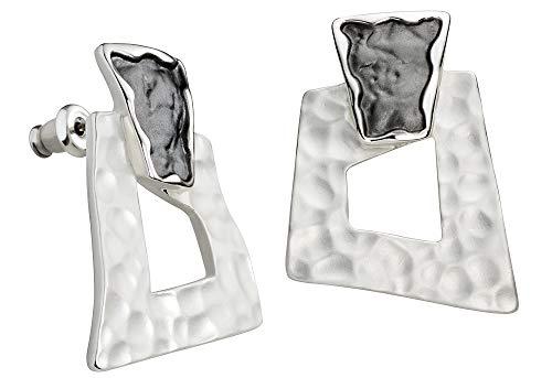 Perlkönig | Damen Frauen | Ohrringe Set | Ear Cuffs | Silber Schwarz Farben | Eckig | Stecker | Nickelfrei
