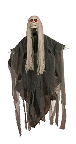 P'TIT Clown re15371 - Squelette à suspendre animé (tête), sonore et lumineux de 1.20 m