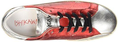 ISHIKAWA Low 140, Pompes à Plateforme Plate Femme Rouge (Foil Scrub Rosso-Foil Sccrub Argento)
