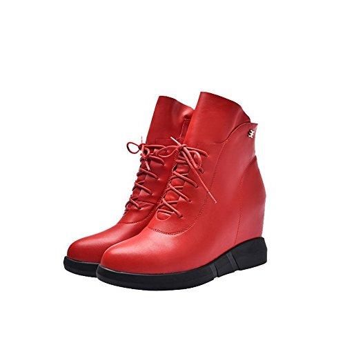VogueZone009 Donna Punta Tonda Bassa Altezza Tacco Alto Chiodato Stivali con Metallo Nero