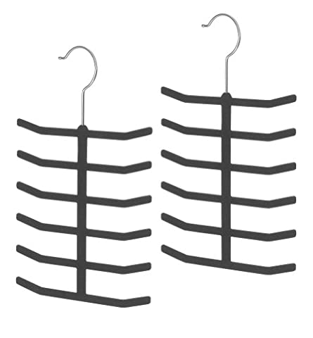 Whitmor 6478-2399-2-BLK Flocked Spacemaker Hanger Collection Tie Hangers, Set of 2 Black by Whitmor