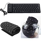 EErlik Foldable Silicone Keyboard USB Wired Waterproof Rollup Keyboard For PC Notebook Laptop (1 Year Warrenty)