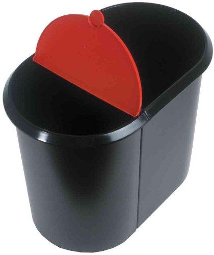 helit corbeille à papier Duo-System, ovale, PE, noir/rouge