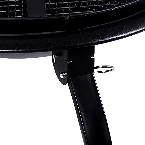Home Discount Fire Pit Steel Folding Outdoor Garden Patio Heater Grill Camping Bowl BBQ With Poker, Grill, Mesh Lid, Grate