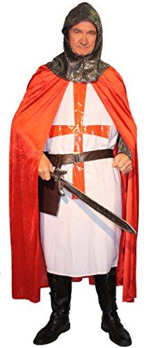 5-teiliges Kreuz-Ritter Kostüm-Set für Herren | Größe 58/60 | Kämpfer Kostümierung für Karneval | Krieger-Verkleidung in Rot-Weiß für Fasching | Mittelalter Karnevalskostüm für Fastnacht & Mottopartys - 8