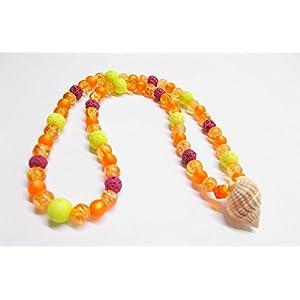Kette elastisch & maritim - Sommerkette - Orange & Beere - Choker - Glasperlen - Swarovski® Kristall - Muschelperle - Lavaperlen - 38 cm