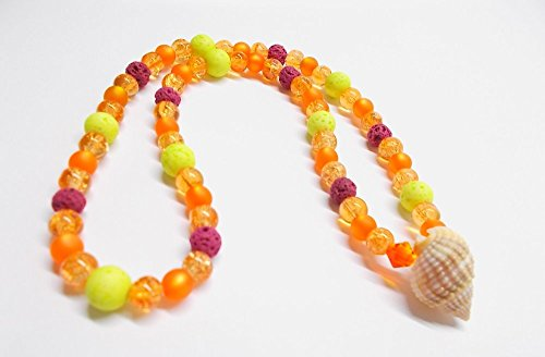 Kette elastisch & maritim - Sommerkette - Orange & Beere - Choker - Glasperlen - Swarovski® Kristall - Muschelperle - Lavaperlen - 38 cm -
