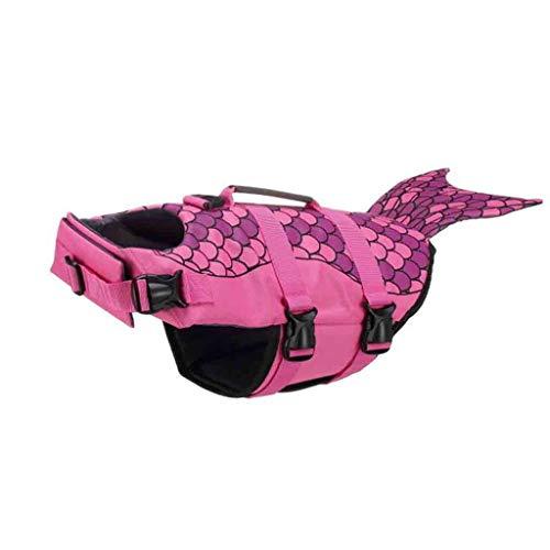 TDFGCR Pet Dog Life Schwimmen Jacke Shark Float Weste Auftriebshilfe Weste Kostüm-Hot Pink L