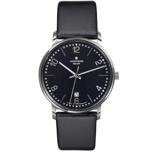 Junghans 014/4062 - Reloj analógico de Cuarzo para Hombre con Correa de Piel, Color Negro